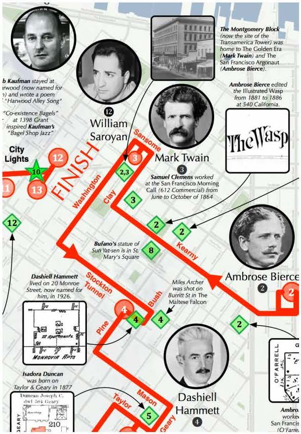 A map graphic of a portion of the Bikes to Books literary history bicycle tour, with numbered author names and images, such as William Saroyan and Mark Twain.