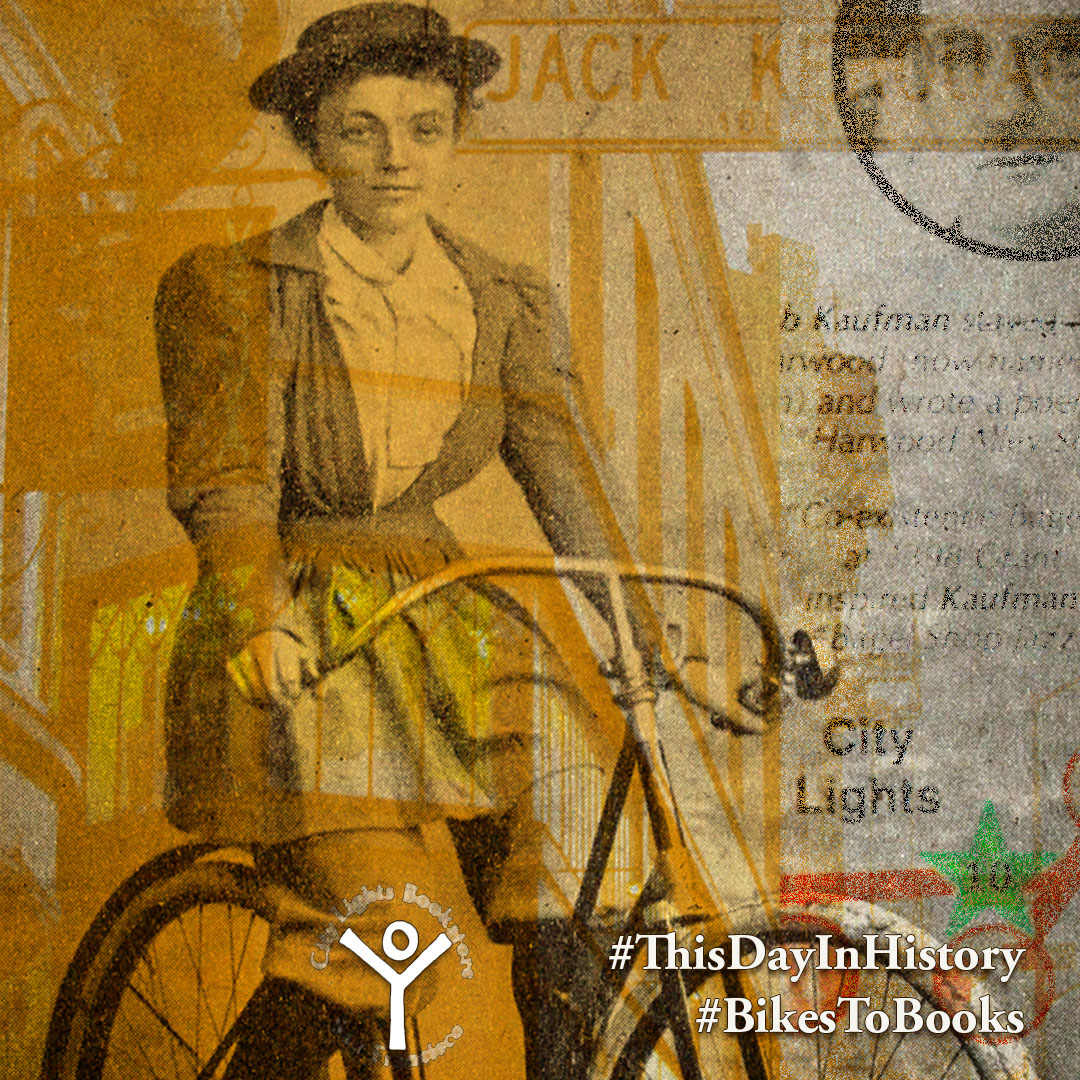 A square graphic with three layers, an old-time photo of a Victorian woman on a boneshaker bicycle, a graphic from the Bikes to Books tour map, and the front of City Lights bookstore, image text reads #thisdayinhistory #bikestobooks.
