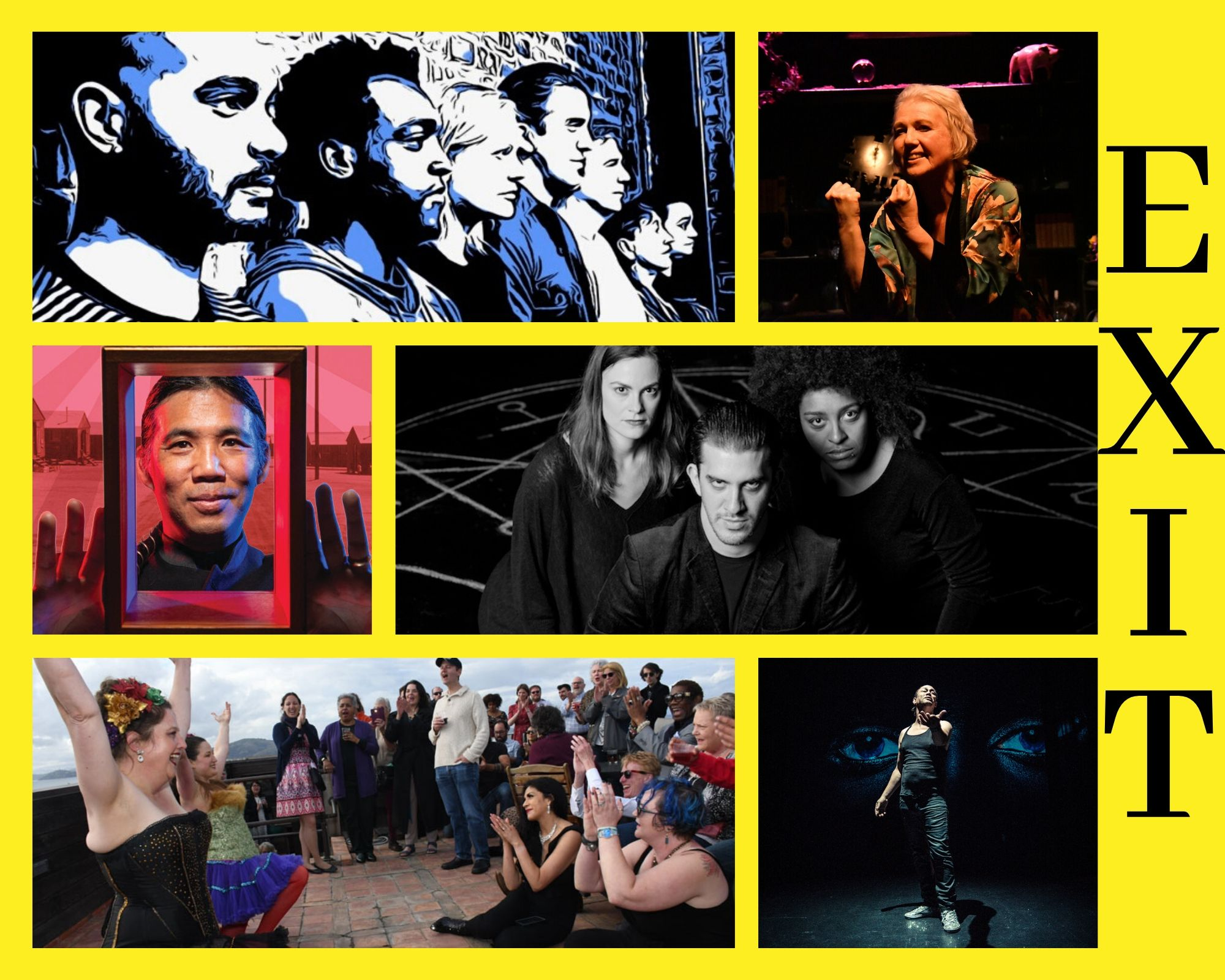 A collage of images including a graphic of seven actors against a brick wall, performer christina augello in a flowered silk robe, magician David Hirata looking through a box, a trio of sinister performers standing in front of a chalk pentagram, can-can dancers performing on a rooftop, and a solo performer on a theatre stage against a backdrop of watching eyes.