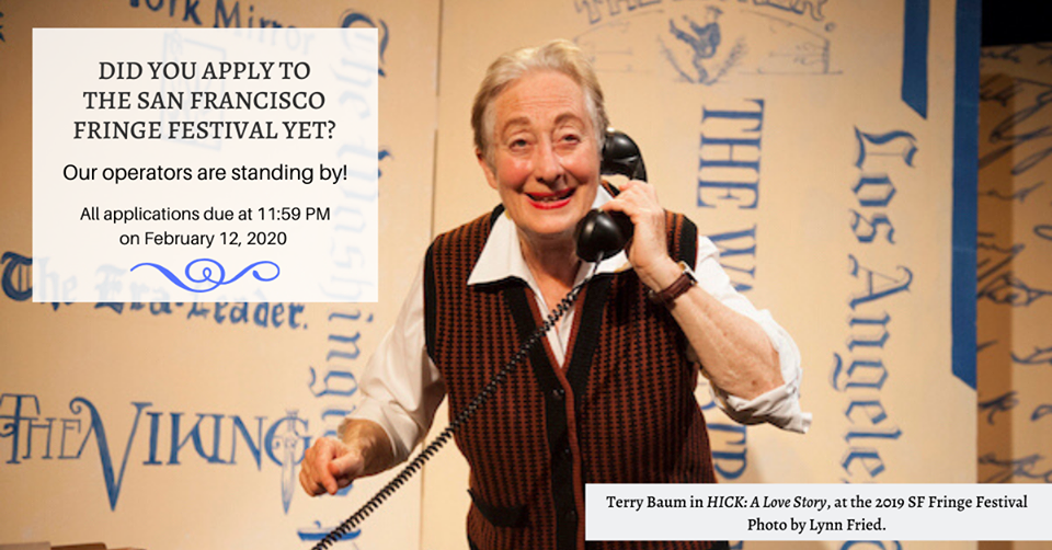 Performer Terry Baum, an elderly woman in a button down patterned vest speaks into a black telephone receiver while looking into the camera.