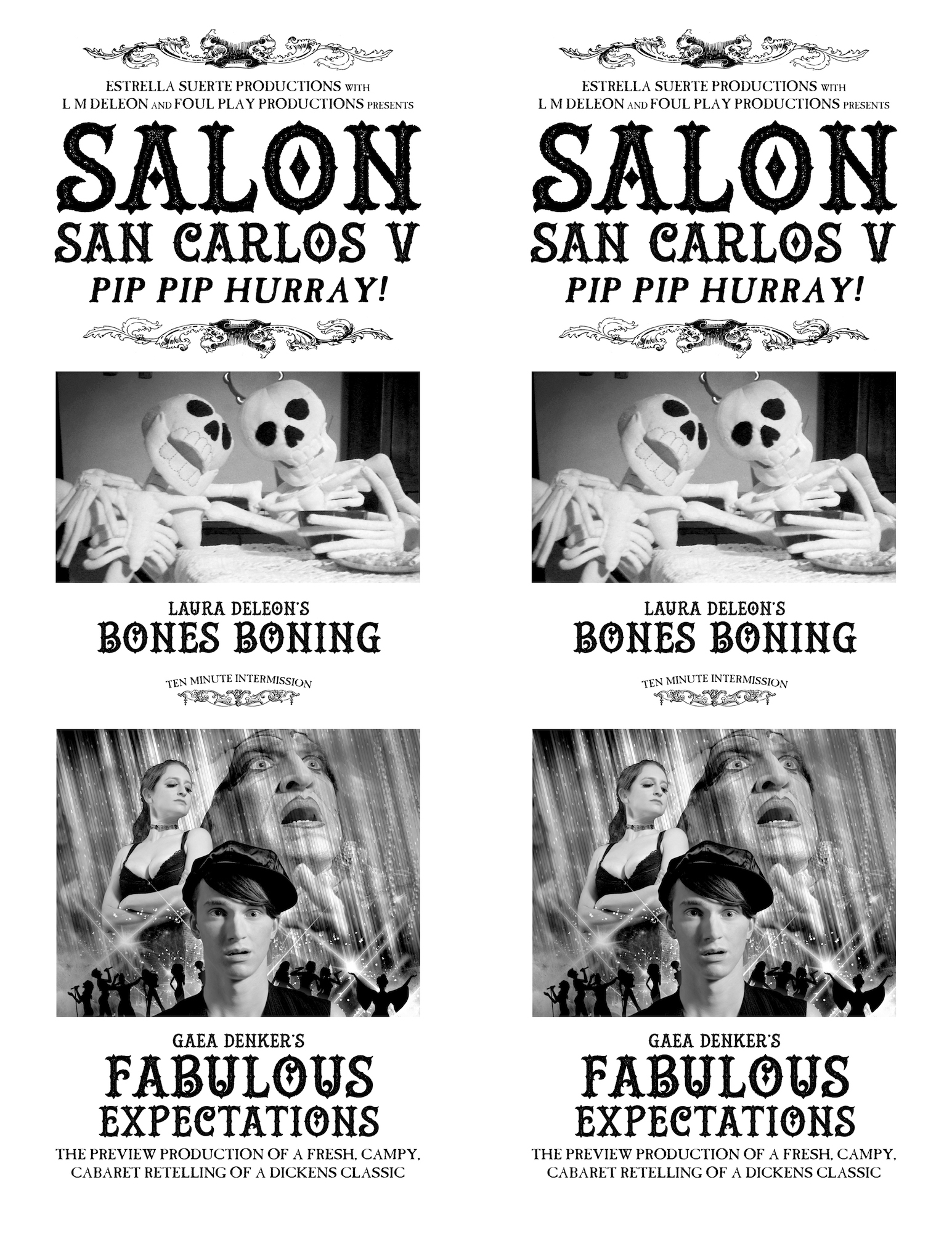Flyer with photo of two skeleton puppets captioned Bones Boning, and a graphic with a face of a drag queen, a topless cis woman, and an androgynous performer in a news cap.