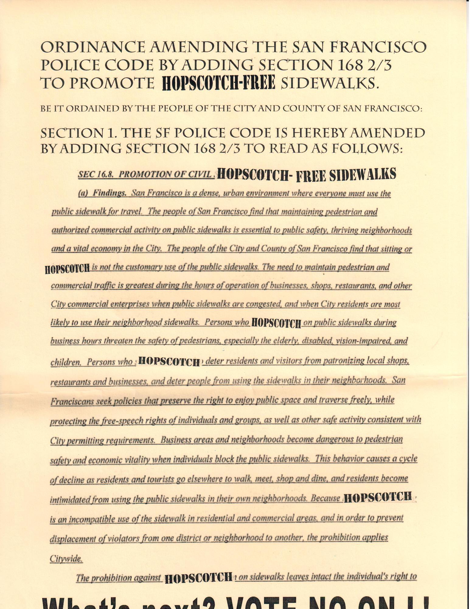 Voter's Bloc Theatre poster for HOPSCOTCH-FREE sidewalks/No on L.