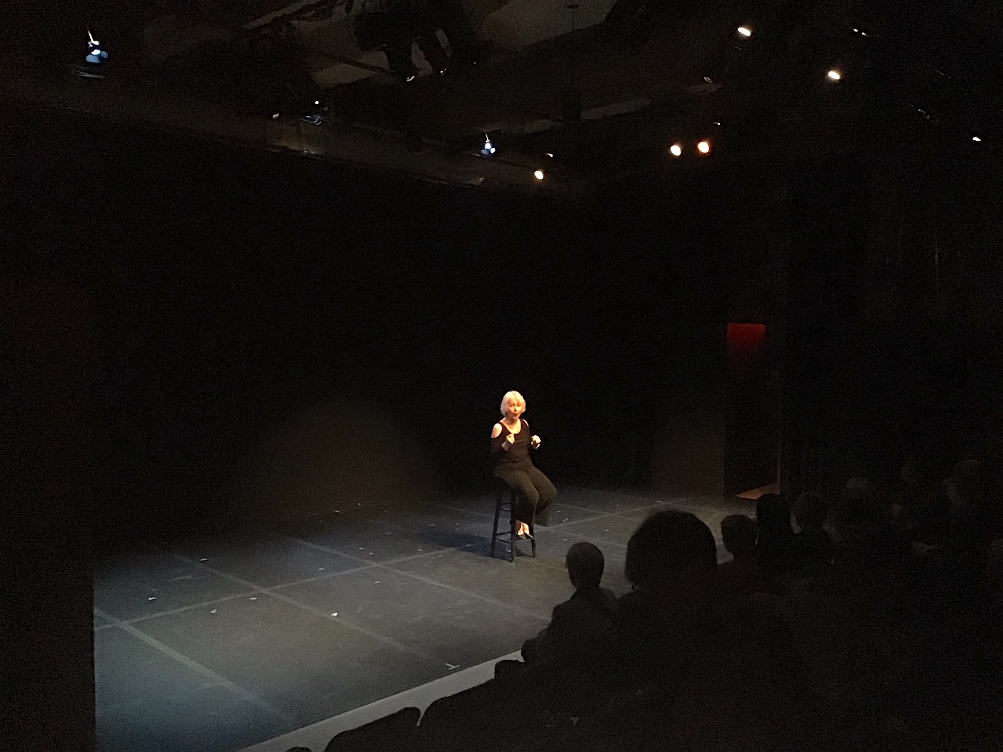 Performer Christina Augello seated on a stool on a theatre stage performing for an audience.